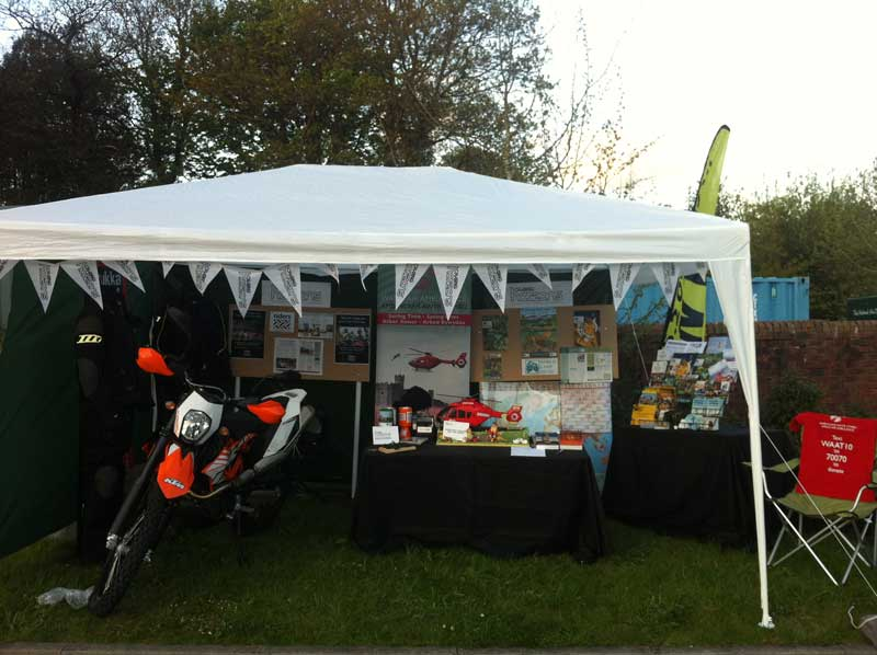 Bunting on display at the Touratech Adventure Travel Event
