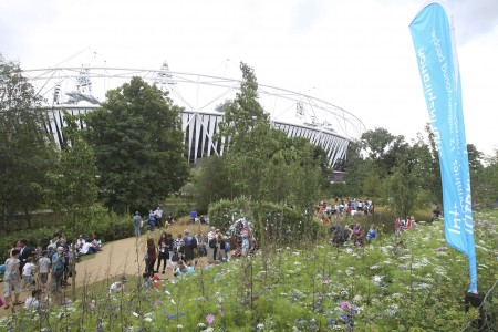 The Feather flags flying in the Great British Garden on the Olympic Park